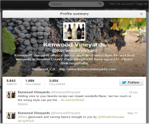 Kenwood Vineyard's Twitter profile